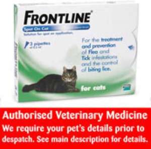 frontline for cats 6 pack @ petsathome online only £18.90