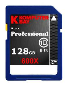 Komputerbay 128GB SDXC Secure Digital Extended Capacity Speed Class 10 600X UHS-I Ultra High Speed Flash Memory Card £30 @ KOMPBAY Fulfilled by Amazon