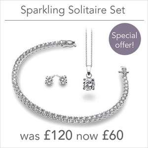 Sterling Silver and Cubic Zirconia 3pc gift set 50% off now £60 at Silver by Mail