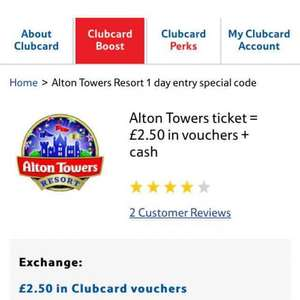 Alton Towers tickets  for £15 (plus £2.50 Tesco Clubcard vouchers)