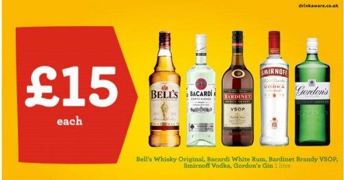 1L Bottles of Smirnoff Vodka - Bacardi Rum - Bell's Whisky - Gordon's Gin - Captain Morgan's Spiced Rum and BARDINET FRENCH BRANDY- £15 Morrisons