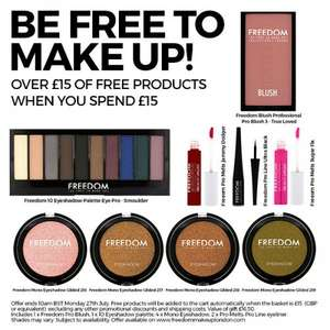 Free £15 Of Products When You Spend £15 @ Freedom Makeup, £17.95 + 20% Off First Orders