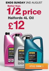 Halfords 5W/30 Ford / 5w/30 Vauxhall/Opel Oil /5W40 Fully Synthetic or 10W/40 Semi Synthetic Oil 4Lt  Reduced to £12.00