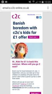 Banish boredom with c2c's kids for £1 offer @ c2c