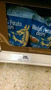 Taylor's Welsh Potato Crisps Seasalt and vinegar or lamb and mint flavour 20p @ Sainsburys