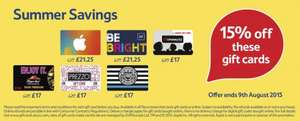 15% off selected giftcards at Tesco online and instore - Itunes, Cineworld, Pizza Express, PizzaHut, Prezzo, Gap