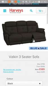 Harveys Blue Cross sale - Valkin  Sofa £589
