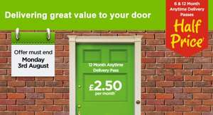 6 & 12 Month Anytime Delivery Passes now Half Price from only £2.50 per month! @ Asda