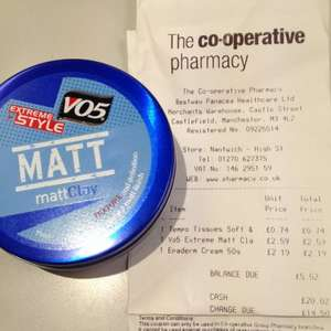 IN STORE only. Well (previous Coop) pharmacy ~30% most items - VO5 Extreme Matt clay down to £2.59