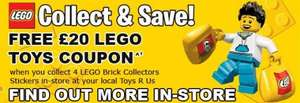 Collect 4 Lego Stickers for free £20 Lego Voucher at Toys R US (1 sticker = £20 spend)
