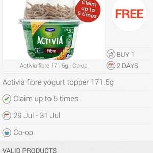 Activia fibre yoghurt topper free via Checkoutsmart/Co-op