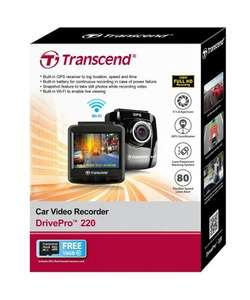 Transcend Drive Pro 220 GPS Wifi Car Dash Camera £87.23 @ Amazon