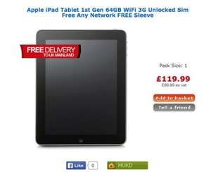 1st Gen iPad 64GB wifi and 3G £119.99 @ Big Pockets (Refurb)