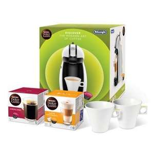 Dolce Gusto PICCOLO MACHINE BUNDLE White Piccolo Machine with a box of Americano and Latte Macchiato pods along with a set of Aroma cups £45