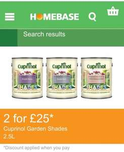 Cuprinol garden shades paint, 2.5l £22.99 or 2 for £25 @ homebase
