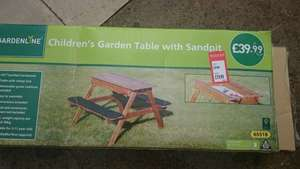 Aldi childs bench and sand pit £19.99 reduced from £39.99