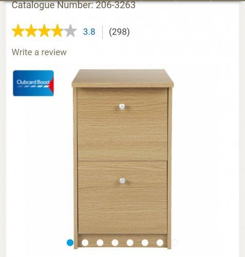 Oak Isaac 2 drawer filing cabinet £8.75 was £35.00 @ Tesco Direct