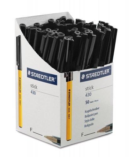 Staedtler Stick Ballpoint Pen Fine Ballpoint Pen Fine - Black (Pack of 50) £5.25 + £3.30 delivery = £8.55 (free del on orders over £20) @ Amazon