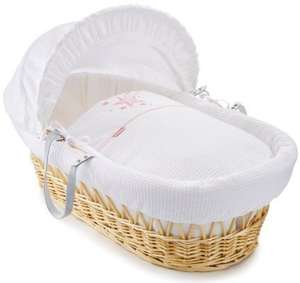 Clair de Lune Stardust Natural Wicker Moses Basket (Pink) £30 @ amazon