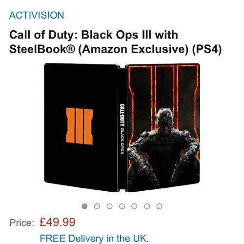Call Of Duty black ops 3 ( steelbook exclusive design to Amazon ) £40 using voucher