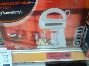 Sainsbury's 5 speed hand mixer with bowl was £14.99 now £7.99 to clear