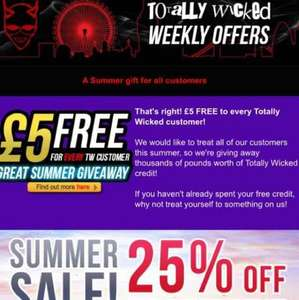 £5 free credit @ totally wicked for existing customers