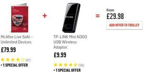 McAfee Live Safe + TP Link N300 USB adapter £29.98 @ Argos