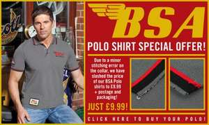 BSA POLO SHIRT (Slight imperfection) £9.99 + £4.99 postage (£14.98) was £29.99 at Grand Prix Legends