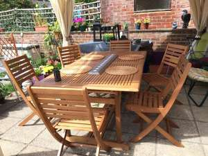 B&Q Aland Extendable Wooden Garden Table £88 Clearance, Pair Matching Chairs £22
