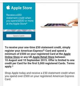 £50 Amex Credit on £500 spend at Apple Store.