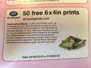 50 free 6x4inch photo prints at Boots (Collect from Store)