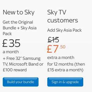 Sky Asia Pack Half Price for existing Sky Customers