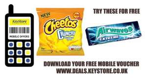 Free pack of crisps and chewing gum at Keystores