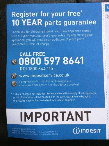 Free ten year guarantee when you buy an indesit washing machine