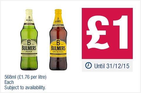 Bulmers Original/Pear Cider 568ml Bottle - £1 @ Co-op