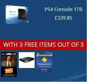 PS4 1TB + 3 months ps plus + 3 months NOW TV + PS TV OR PS4 white/black 500GB + 5 out of 7 items (£339.85) @ shopto