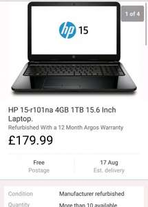HP 15-r101na 4GB 1TB 15.6 Inch Laptop (refurb) £179.99 (12 MONTHS WARRANTY) @ Ebay/Argos