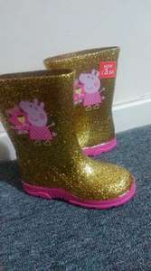 Girls Peppa Pig Golden sparkly wellies down from £11 to £3.50. Tesco extra Romford