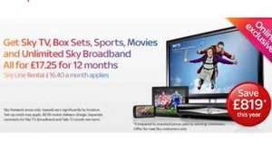 SECRET OFFER. Sky TV, Box Sets, Sky Sports, Sky Movies and UNLIMITED broadband for 17.25 p/m!