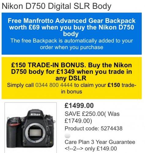 NIKON D750 £1349 if trade in old DSLR @ Jessops