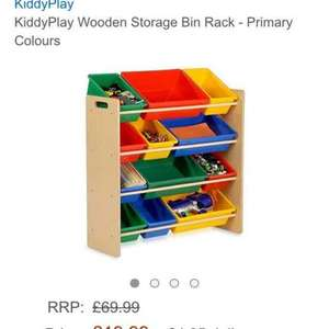 kids wooden storage bin rack £24.94 @ Amazon