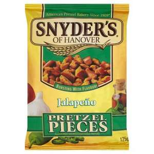 Tesco Snyders Hot Buffalo Wing, Honey Mustard And Onion, Jalapeno Pretzel Pieces 125g in store or online Was £1.50 Now £1.00