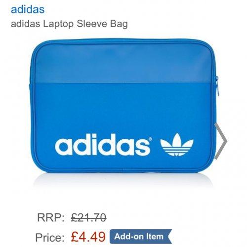 Adidas Laptop Sleeve Zip Bag - Small/Blue £4.49 @ Amazon (Add On Item)