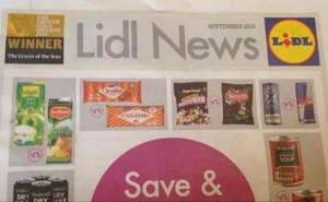 Free Lidl £5 off a £40 spend voucher inside September's Lidl news free in stores.