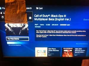 Black Ops 3 beta FREE!!!! on the Hong Kong PSN store