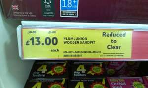Plum Junior Wooden Sandpit - £13.00 Tesco (Instore) Reduced to Clear