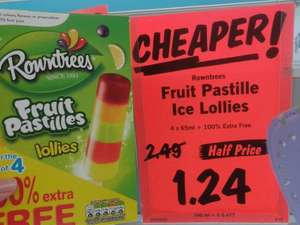 Rountrees Fruit Pastilles ice lollies 8 pack (4 + 4 free) only £1.24 at Lidl.  (In-store Wallasey)