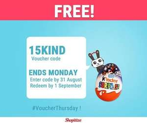 FREEBIE... Enter 15KIND for 80p off Kinder Suprise Chocolate Egg (20g) - 75p @ Asda & Sainsbury's; 80p @ Tesco, Coop & Waitrose = 6p / 1p Profit via Shopitize & COS/CS apps...