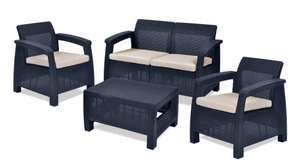 Keter Corfu 4 Seater Lounge Set - Graphite with Cream Cushion £157.80 @ Amazon