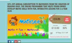 less than half price mathseeds with littlebird £14.95 also 10% cash back with quidco poss £12.60 for the year  @ Littebird